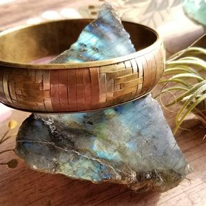 Vintage woven brass bangle bracelet boho gold tone